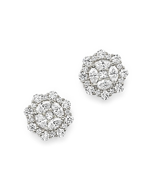 Diamond Cluster Stud Earrings in 14K White Gold, 1.20 ct. t.w. - 100% Exclusive