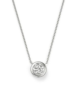 Roberto Coin 18K White Gold Bezel-Set Diamond Solitaire Pendant Necklace, 16