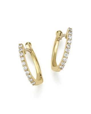 18 K Yellow Gold Baby Diamond Huggie Hoop Earrings by Roberto Coin