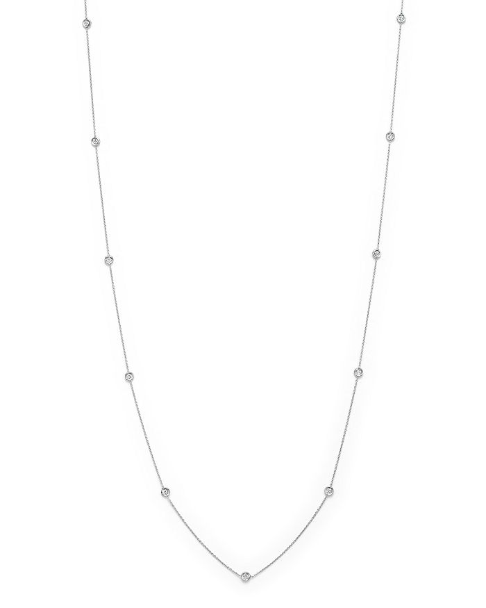 """Roberto Coin - 18K White Gold Diamond By The Inch Necklace, 34"""""""
