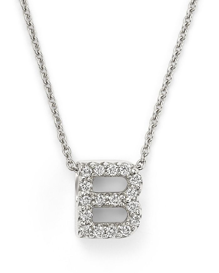 "Roberto Coin - 18K White Gold ""Love Letter"" Initial Pendant Necklace with Diamonds, 16"""