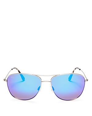Unisex Cliff House Polarized Brow Bar Aviator Sunglasses