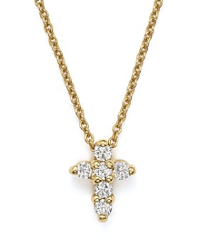 Roberto Coin - Roberto Coin 18K Yellow Gold Small Cross Necklace, 16""