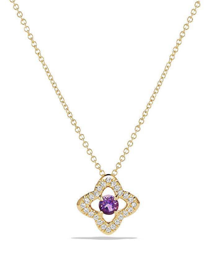 David Yurman - Venetian Quatrefoil Necklace with Amethyst and Diamonds in 18K Gold