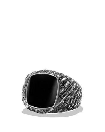 David Yurman - Naturals Gator Signet Ring with Black Jade
