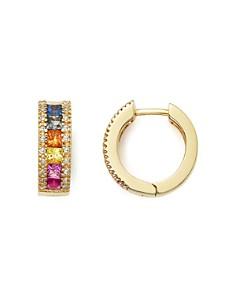 Bloomingdale's - Multi Sapphire and Diamond Hoop Earrings in 14K Yellow Gold - 100% Exclusive