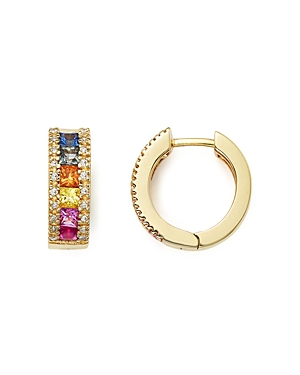 Multi Sapphire and Diamond Hoop Earrings in 14K Yellow Gold - 100% Exclusive