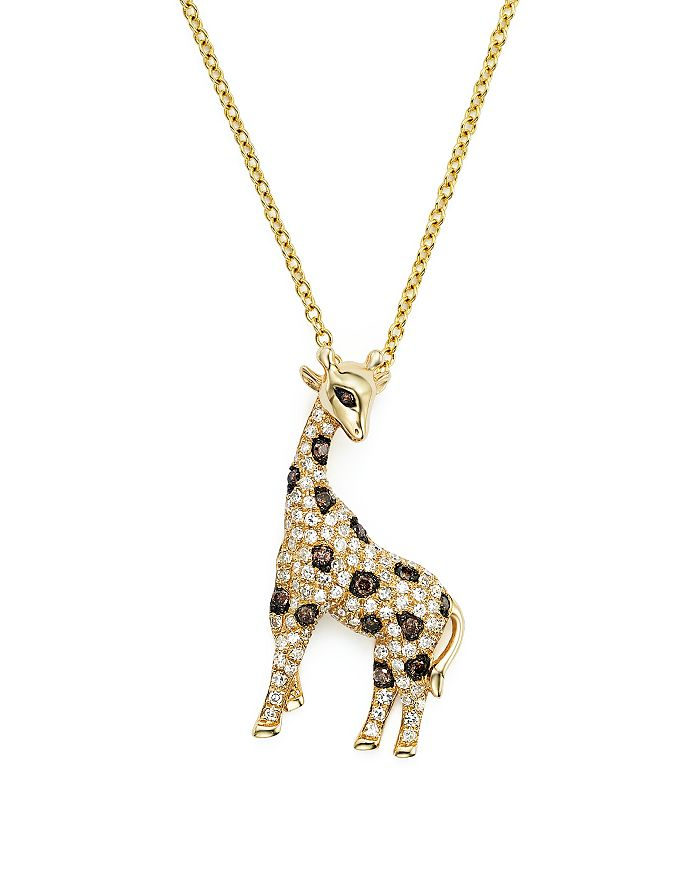 "Bloomingdale's - White, Brown and Black Diamond Giraffe Pendant Necklace in 14K Yellow Gold, 18"" - 100% Exclusive"