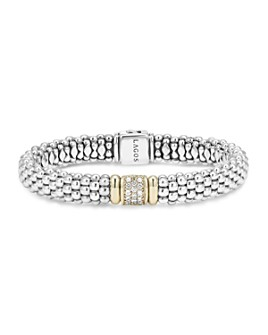 LAGOS - 18K Yellow Gold and Sterling Silver Caviar Rope Bracelet with Diamonds