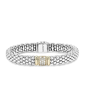 Lagos 18K Yellow Gold and Sterling Silver Caviar Rope Bracelet with Diamonds