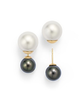 Tara Pearls - 14K Yellow Gold Natural Color Tahitian and White South Sea Cultured Pearl Front-Back Stud Earrings