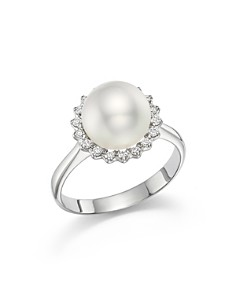 Tara Pearls - 14K White Gold Natural Color White South Sea Cultured Pearl and Diamond Ring