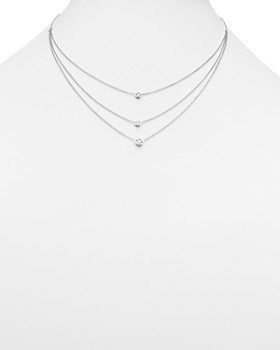 Bloomingdale's - Diamond Three Station Bezel Necklace in 14K White Gold, .50 ct. t.w.- 100% Exclusive