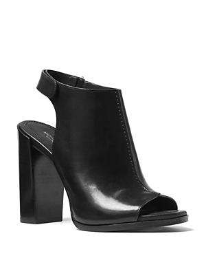 Michael Kors Collection Maeve Leather Open Toe Block Heel Mule Sandals