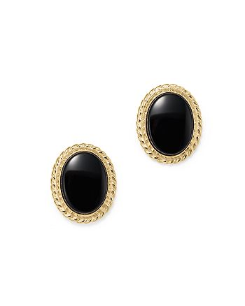 Bloomingdale's - Onyx Bezel Set Stud Earrings in 14K Yellow Gold - 100% Exclusive