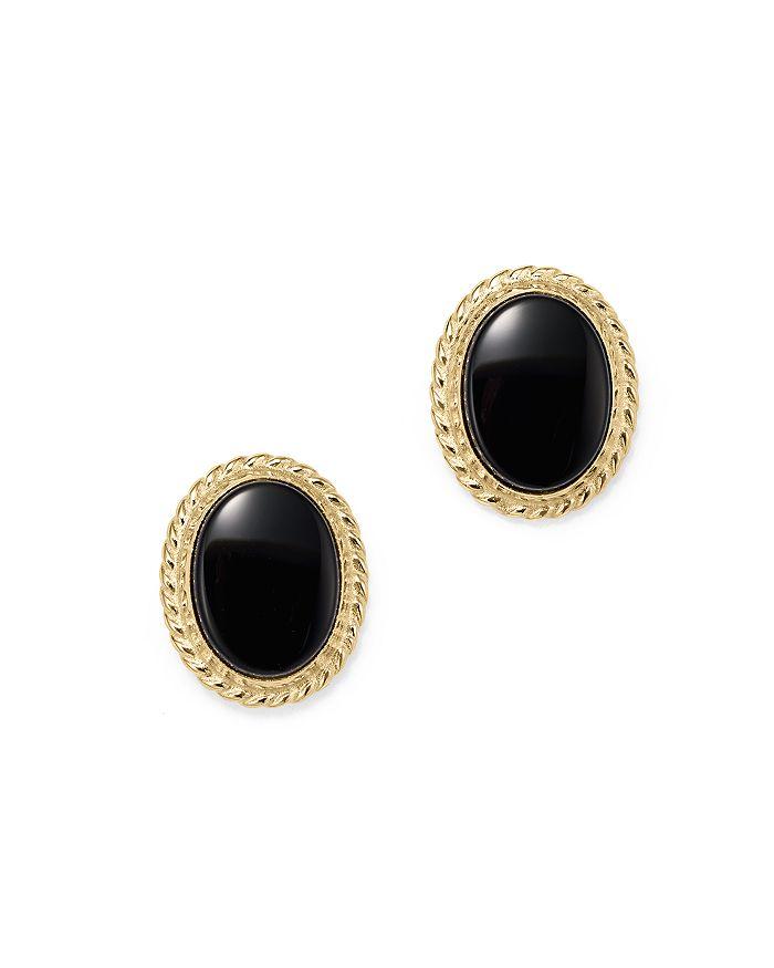 Bloomingdale's - Onyx Bezel Set Stud Earrings in 14K Yellow Gold- 100% Exclusive