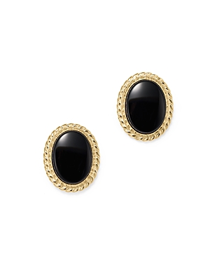 Onyx Bezel Set Small Stud Earrings in 14K Yellow Gold - 100% Exclusive