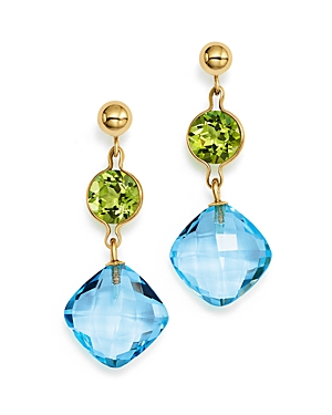 Peridot and Blue Topaz Drop Earrings in 14K Yellow Gold - 100% Exclusive