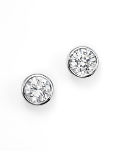 Bloomingdale's - Diamond Bezel Set Stud Earrings in 14K White Gold, .33-1.0 ct. t.w. - 100% Exclusive