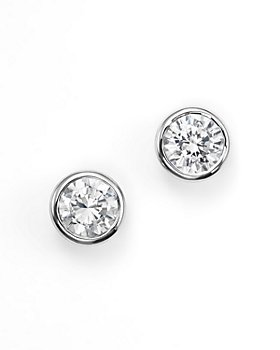 Bloomingdale's - Diamond Bezel Set Stud Earrings in 14K White Gold, 0.20-1.0 ct. t.w. - 100% Exclusive