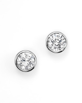 Bloomingdale's - Diamond Bezel Set Stud Earrings in 14K White Gold, 0.33-1.0 ct. t.w. - 100% Exclusive