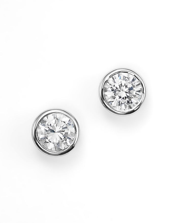 Bloomingdale's - Diamond Bezel Set Stud Earrings in 14K White Gold, 0.50 ct. t.w. - 100% Exclusive
