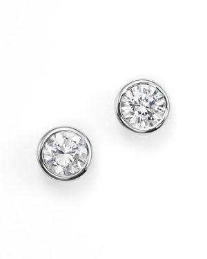 Diamond Bezel Set Stud Earrings in 14K White Gold, .50 ct. t.w. - 100% Exclusive