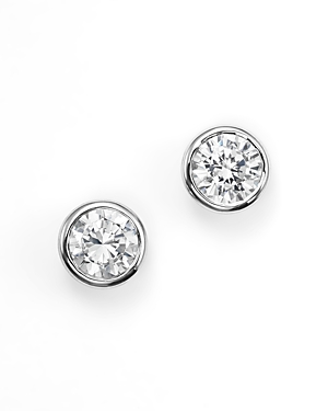 Diamond Bezel Set Stud Earrings in 14K White Gold, 0.33 ct. t.w. - 100% Exclusive