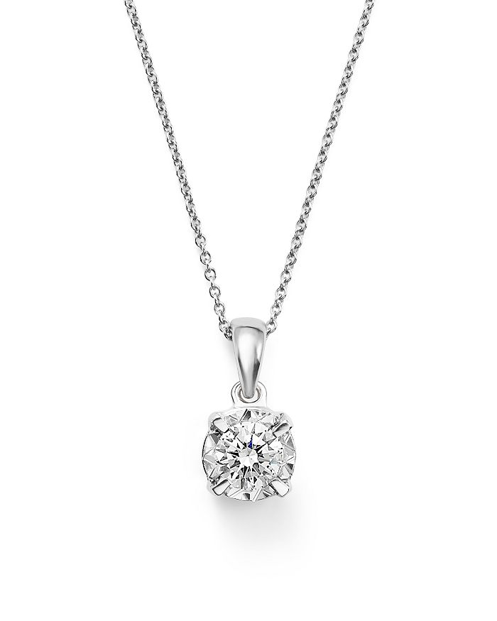 Bloomingdale's - Diamond Solitaire Pendant Necklace in 14K White Gold, .30 ct. t.w.- 100% Exclusive