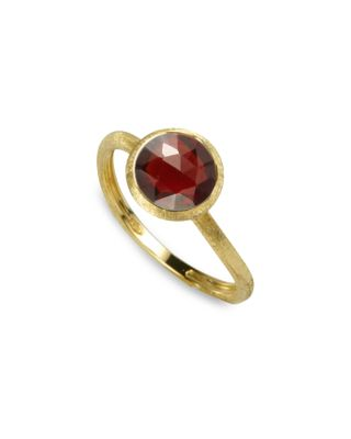 18K YELLOW GOLD ENGRAVED JAIPUR STACKABLE RING WITH GARNET