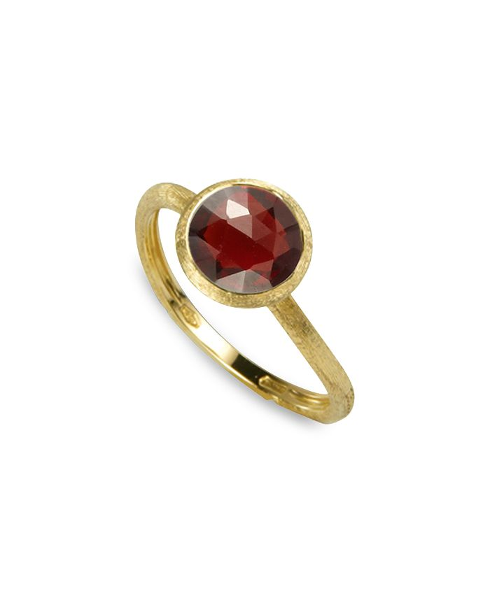 Marco Bicego 18K Yellow Gold Engraved Jaipur Stackable Ring With Garnet In Red/Gold