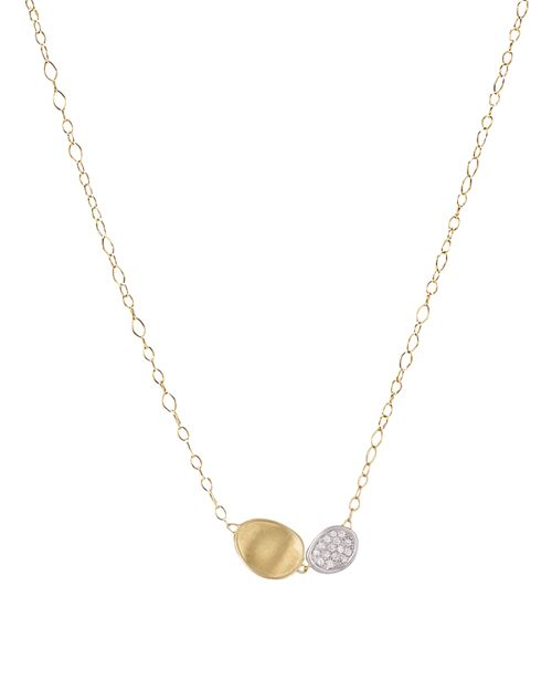 Marco Bicego - 18K White and Yellow Gold Lunaria Two Pendant Diamond Necklace, 16.5""