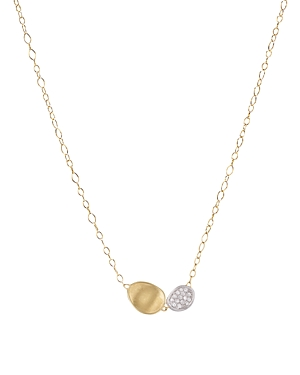 Marco Bicego 18K White and Yellow Gold Lunaria Two Pendant Diamond Necklace, 16.5