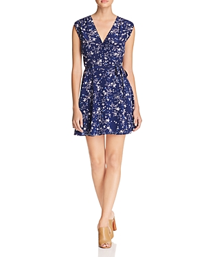 Yumi Kim Belted Star Print Silk Wrap Dress