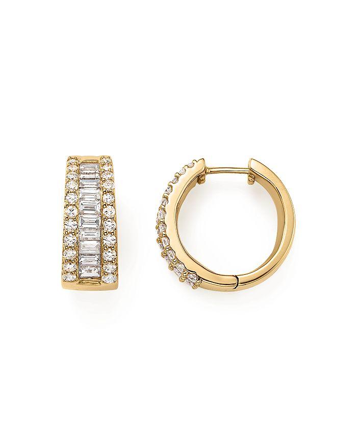 Bloomingdale's - Baguette and Round Diamond Huggie Hoop Earrings in 14K Yellow Gold, 2.0 ct. t.w.- 100% Exclusive