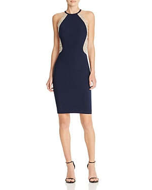 Avery G Beaded Illusion Cocktail Dress