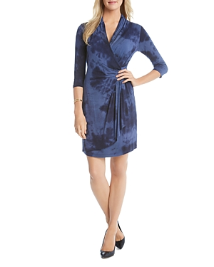Karen Kane Tie Dye Cascade Faux Wrap Dress