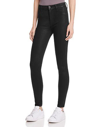 Hudson - Barbara Coated Super Skinny Jeans in Noir