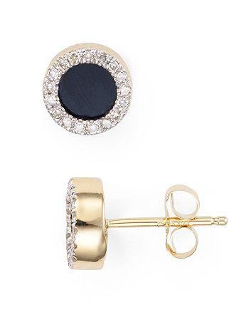 Adina Reyter - Onyx & Diamond Disc Stud Earrings