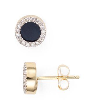Adina Reyter Onyx & Diamond Disc Stud Earrings