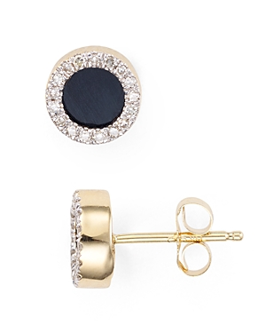 Adina Reyter Onyx & Diamond Disc Stud Earrings