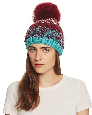 Kyi Kyi Fox Fur Pom-Pom Multicolored Knit Hat