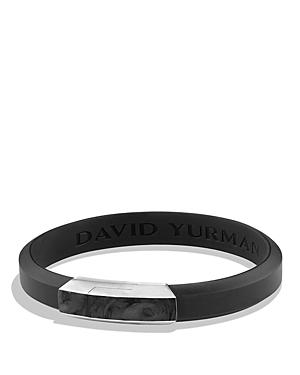 David Yurman Forged Carbon Rubber Id Bracelet in Black