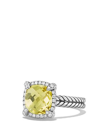 David Yurman - Châtelaine Pavé Bezel Ring with Lemon Citrine and Diamonds