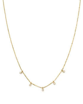 """Zoë Chicco - 14K Yellow Gold Beaded Chain Necklace with Dangling Bezel Diamonds, 16"""""""