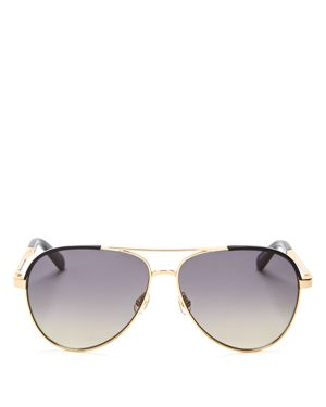 kate spade new york Amarissa Brow Bar Aviator Sunglasses, 58mm