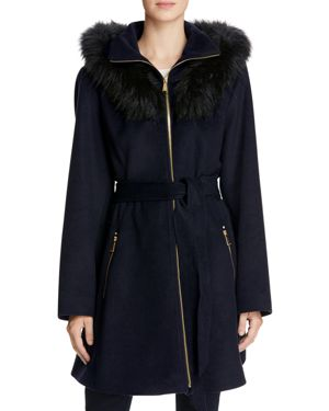 Laundry by Shelli Segal Fur Hood Fit-and-Flare Coat