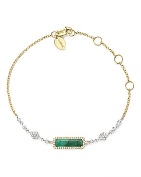 Meira T - 14K Yellow and White Gold Emerald Bracelet with Diamonds