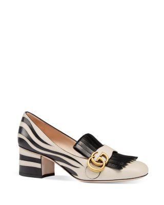 Gucci Marmont Zebra Stripe Mid Heel