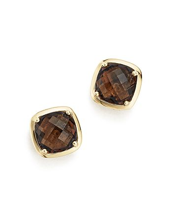 Bloomingdale's - Smoky Quartz Stud Earrings in 14K Yellow Gold- 100% Exclusive